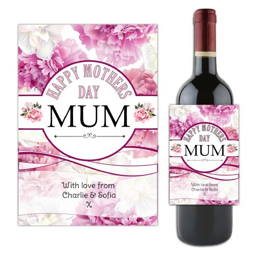 Personalised Happy Mothers Day Mum Wine / Champagne Bottle Label Sticker Gift for her N184